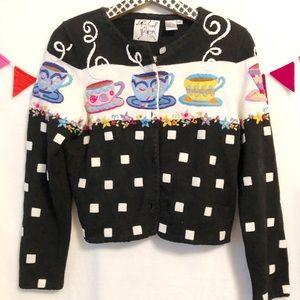 {Michael Simon}Vintage TeaCup Embroidered Sweater